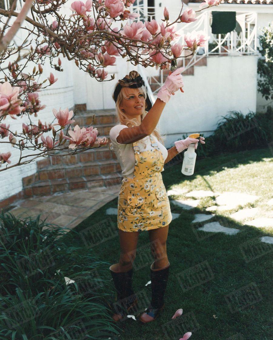 « Même lorsqu'elle doit se lever à l'aube pour tourner, Pamela n'oublie pas son magnolia » - Paris Match n°2389, 9 mars 1995
