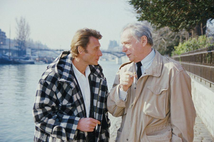 Johnny Hallyday et Yves Montand. 1986