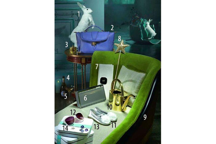 1. Lapin, Deyrolle, 450 €. 2. Sac « Joséphine » en cuir lisse, Lancel, 1 150 €. 3. Eau de parfum Opium Gold Collector 50 ml, Yves Saint Laurent, 95 €. 4. Champagne, cuvée Charles VII, blanc de blancs, Canard-Duchêne, 36 €. 5. Coupe à champagne « Savoy », LSA au BHV, 39,99 €, le cofret de 2. 6. Enceinte SoundLink Bluetooth II, hauteur 13 cm, Bose, 299,95 €. 7. Pochette en baby veau et fermoir en alligator, Longchamp, à partir de 300 € en cuir lisse. 8. Baguette en papier pailleté à tige en bois, vendue avec son déguisement Reine, Mouche sur smallable. com, 89 €. 9. Méridienne « Toulouse », hauteur 76 cm, Mis en Demeure, à partir de 1 890 €. 10. Arrosoir en laiton, « Le Prince Jardinier », Deyrolle, 85 €. 11. Chaussons en cuir et pompons en lapin, du 26 au 32, Bonpoint, à partir de 126 €. 12. Solaires en acétate nacré, Karl Lagerfeld chez Optic 2000, à partir de 149 €. 13. Bague Pain de Sucre collection « Interchangeable », en or blanc et diamants, 5 000 €, avec cabochons or gris et topaze bleue, 1 150 €, or gris et calcédoine, 850 €, or gris et améthyste, le tout Fred. 14. Coffrets Création nos 25 et 27, « Pause bien-être » et « Célébration des sens », Relais & Châteaux, 229 € et 595 € pour deux personnes.
