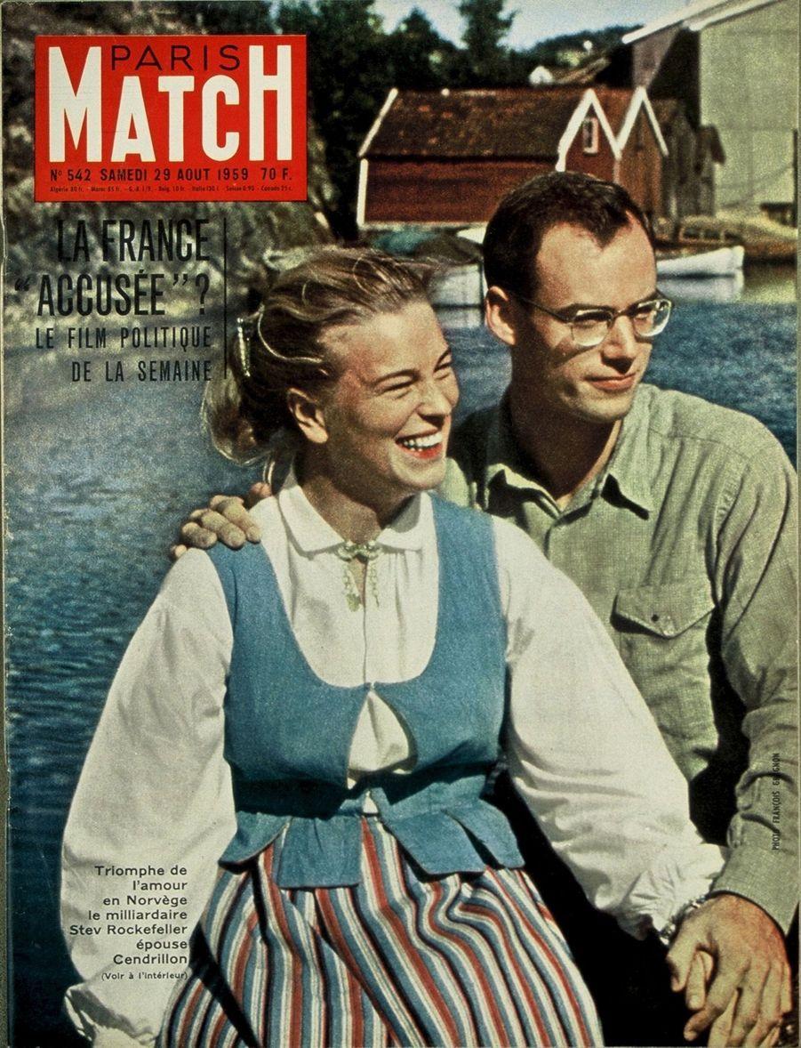 «Le triomphe de l'amour en Norvège, le milliardaire Stev Rockefeller épouse Cendrillon» - Paris Match n°542, 29 août 1959.