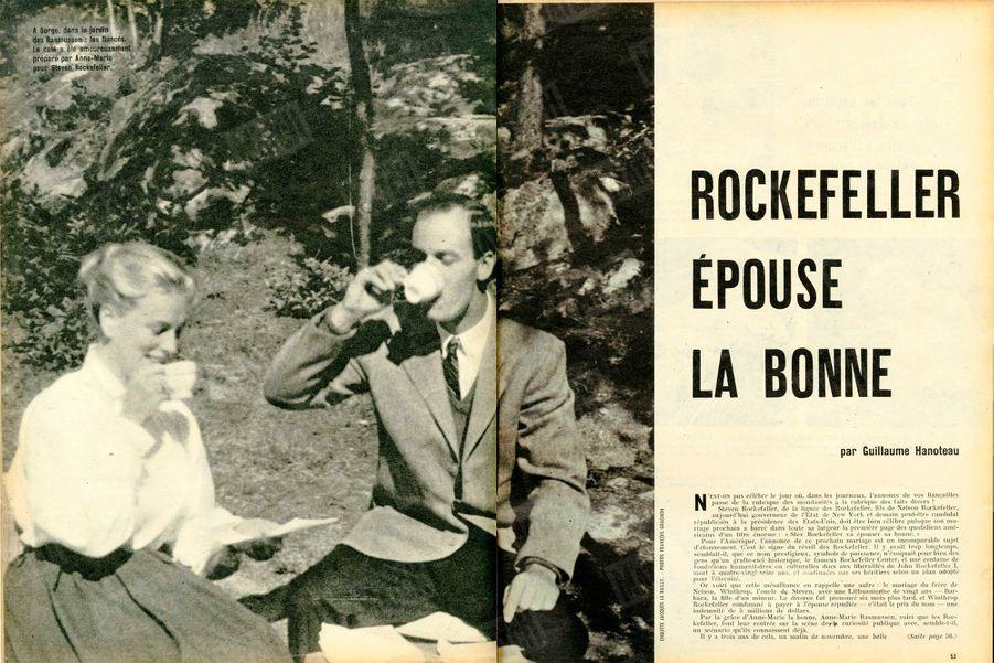 «À Sorge, dans le jardin des Rasmussen : les fiancés. Le café a été amoureusement préparé par Anne-Marie pour Steven Rockefeller» - Paris Match n°541, 22 août 1959