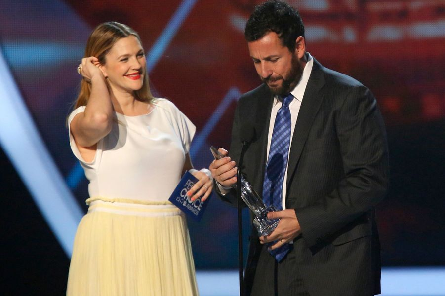 Drew Barrymore, enceinte, et Adam Sandler
