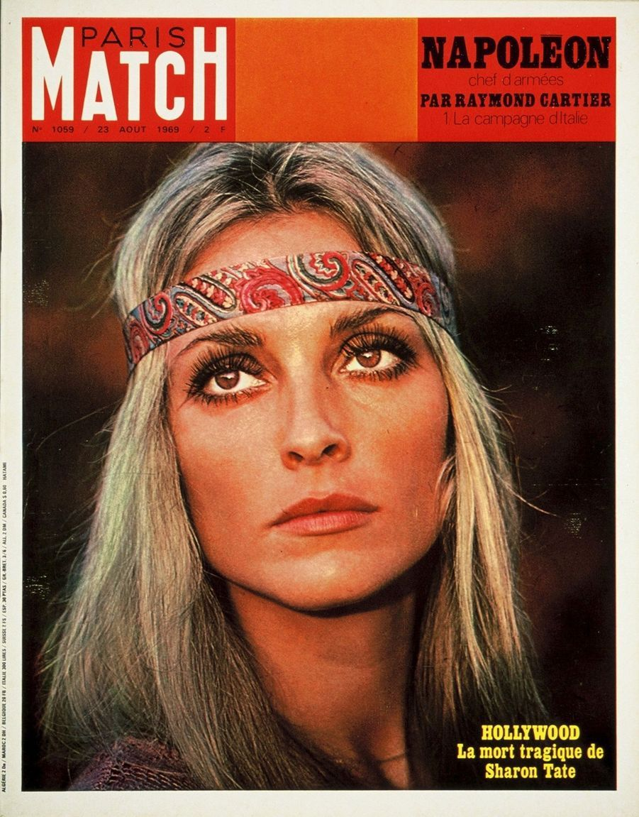 """Hollywood, la mort tragique de Sharon Tate"" - Paris Match n°1059, daté du 23 août 1969."