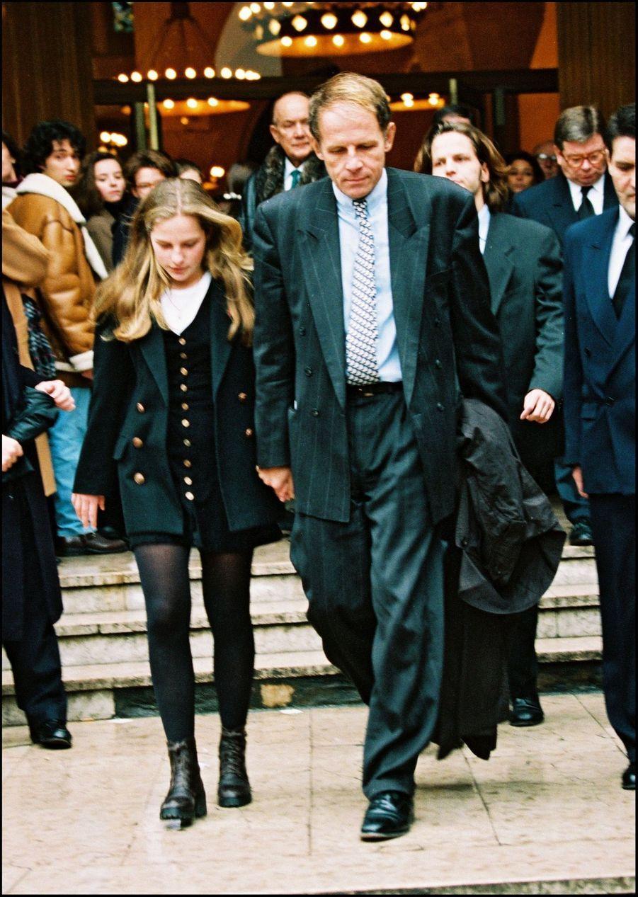 Patrick Poivre d'Arvor, aux obsèques de sa fille Solenn, le 5 février 1992.