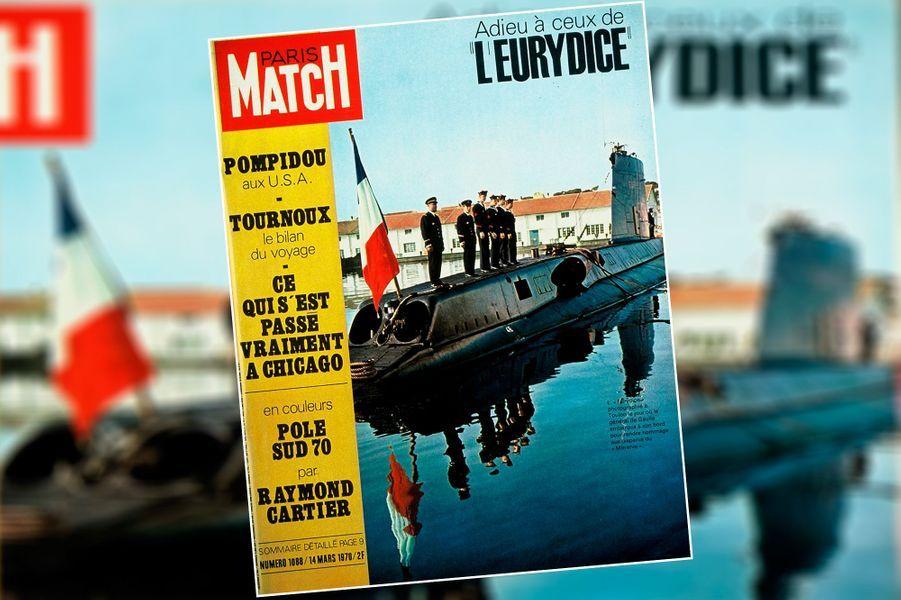"""""""Adieu à ceux de l'EurydiceL'Eurydice - photographié à Toulon le jour où le général de Gaulle embarqua à son bord pour rendre hommage aux disparus du 'Minerve'"""".Couverture du Paris Match n°1088, 14 mars 1970"""