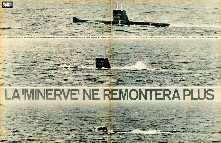 """""""La 'Minerve' ne remontera plusCes photos sont les dernières du sous-marin martyr. Notre photographe Pierre Vals, à bord du 'Suffren', commandant Philippe de Gaulle, avait filmé la 'Minerve' pendant cette manœuvre toujours si émouvante : la plongée. Deux mois et demi plus tard, avec 52 hommes à bord, la 'Minerve' s'enfonçait à nouveau pour ne plus revenir.""""Paris Match n°983, 10 février 1968"""