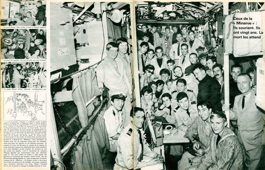 """""""Ceux de la 'Minerve' : ils sourient. Ils ont vingt ans. La mort les attend.Ce jour-là, à bord de la « Minerve » tous souriaient. Ils avaient vingt ans de moyenne d'âge pour les matelots, vingt-cinq pour les officiers et les officiers-mariniers. Ils vivaient là à plus de 50 dans un couloir de 5 mètres de large mais tous avaient été volontaires pour cette existence et la rude discipline qu'elle exigeait. Au moment où ont été prises ces photos, c'est le lieutenant de vaisseau. Philippe Bouillot qui commandait (voir son interview). Dix jours avant le drame il avait passé ses pouvoirs au lieutenant de vaisseau André Fauve. Sur les 39 hommes photographiés ici. sept échapperont au destin tragique de la « Minerve ». Ils étaient restés à terre pour des raisons de service ou de maladie. Les pages suivantes vous racontent comment l'un d'eux, Robert Gangloff (n° 21 sur la photo) a manqué le rendez-vous de la mort.""""Paris Match n°983, 10 février 1968"""