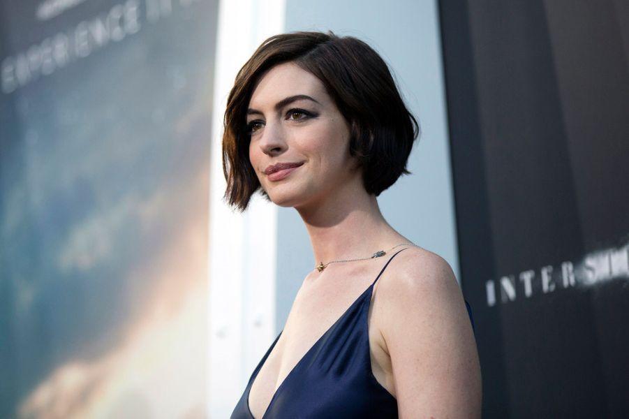 """Anne Hathaway à l'avant-première mondiale du film """"Interstellar"""" en 2014."""