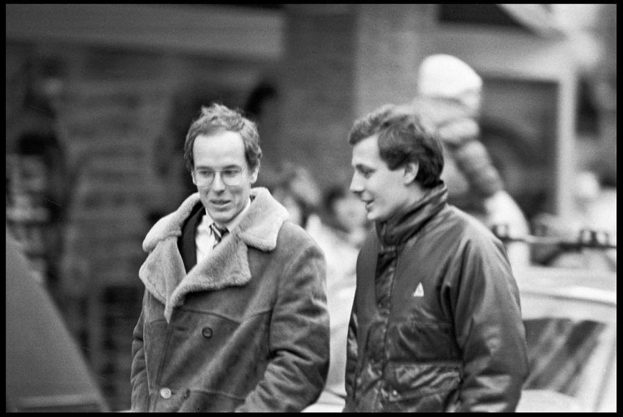 Stefano Casiraghi et son beau-frère le Prince Albert de Monaco à Saint-Moritz, en Suisse, le 10 février 1985.