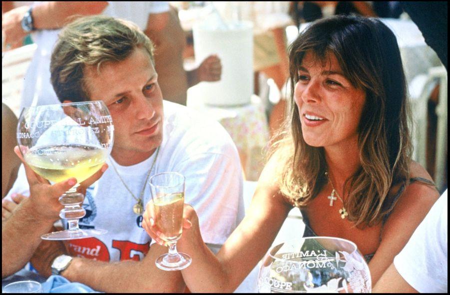 La princesse Caroline et Stefano Casiraghi à Monaco, en juillet 1990.