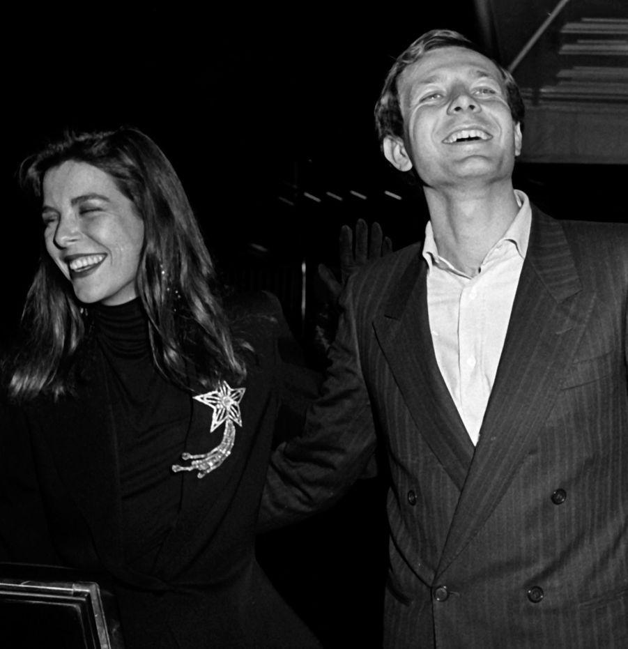 Caroline de Monaco et Stefano Casiraghi à New York, 30 octobre 1985.