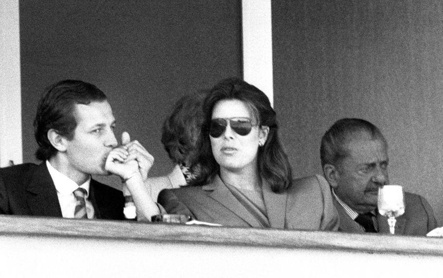 Stefano Casiraghi et Caroline de Monaco à l'Open de Tennis de Monte Carlo en avril 1984, Monaco.