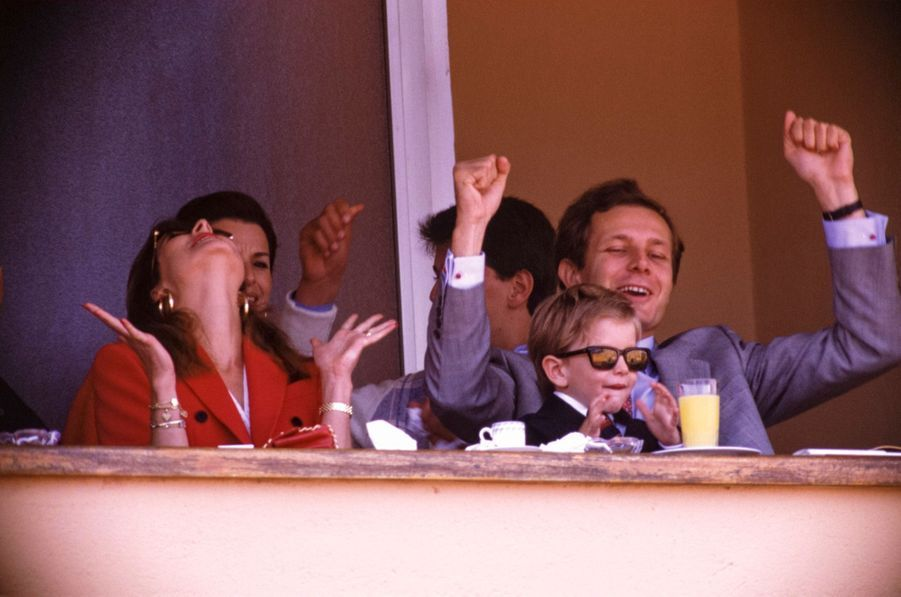 La famille Casiraghi au tournoi de tennis de Monte-Carlo, à Monaco, le 24 avril 1988.