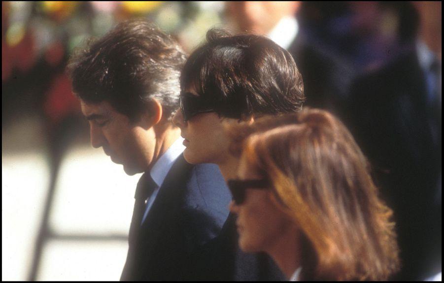 Inès de la Fressange, la grande amie du couple, aux funérailles de Stefano Casiraghi, à Monaco, le 6 octobre 1990.