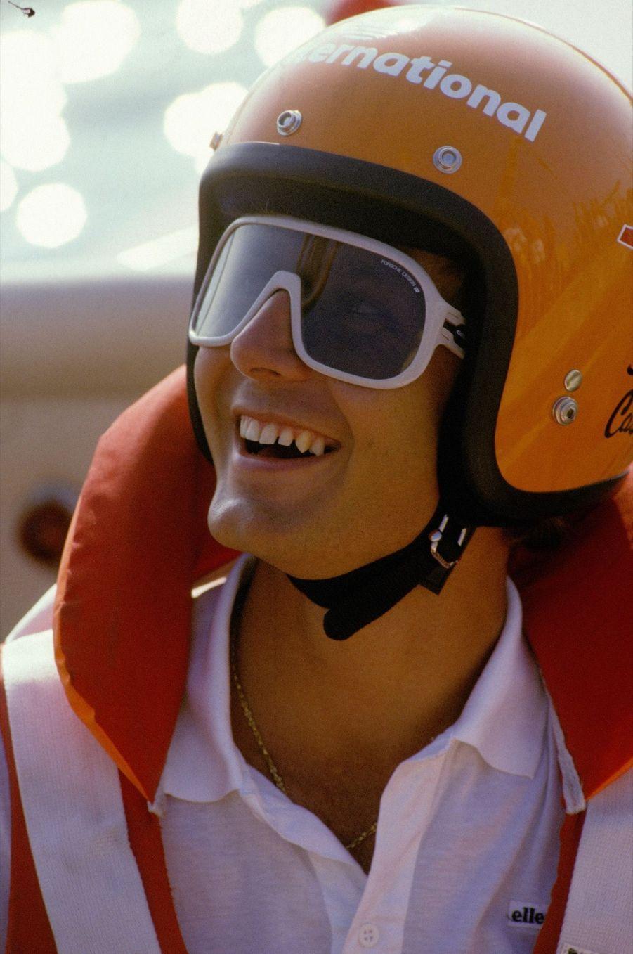 Stefano Casiraghi au Grand Prix offshore le 21 juillet 1985 a Viareggio, Italie.