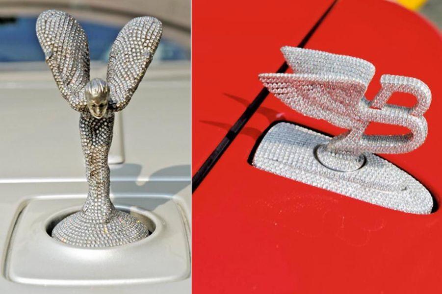 Le « Spirit of Ecstasy » de la Rolls comme le bouchon de radiateur de la Bentley ont été sertis de diamants.