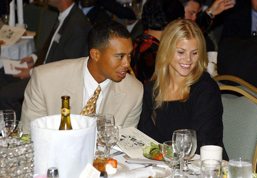 Tiger Woods et sa fiancée Elin, au début de leur relation, en avril 2002.