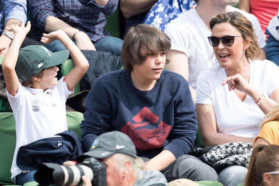 Sandrine Quétier et ses enfants à Roland Garros 2016
