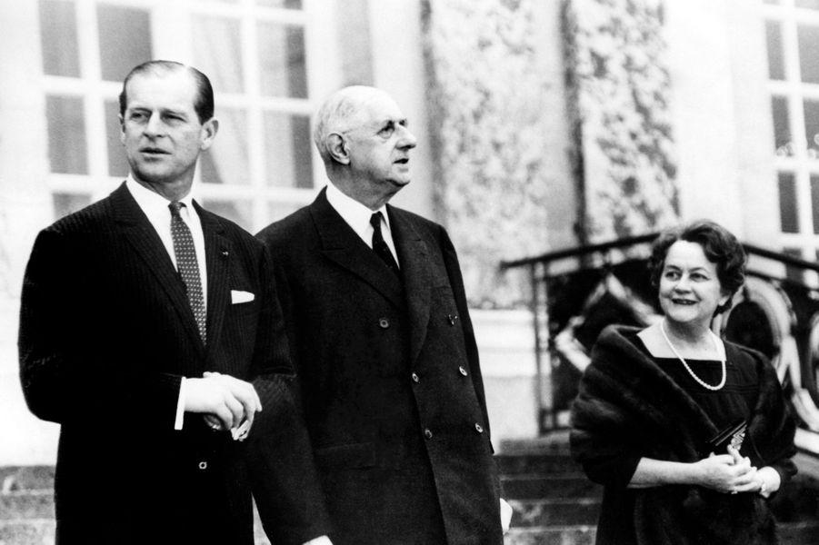 Philip d'Edimbourg, Charles et Yvonne de Gaulle