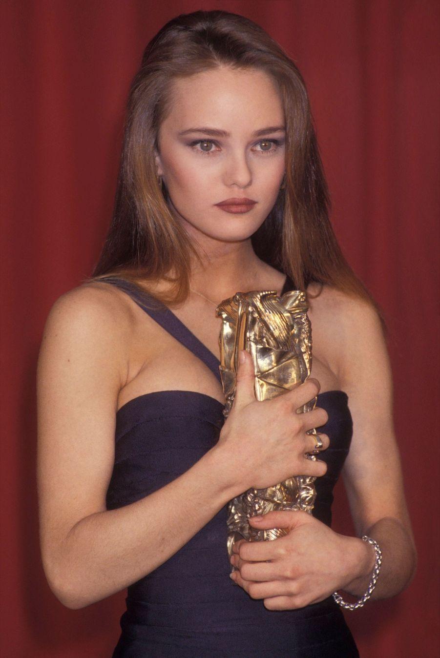 Vanessa Paradis lors de la Nuit des Césars, le 4 mars 1990 à Paris