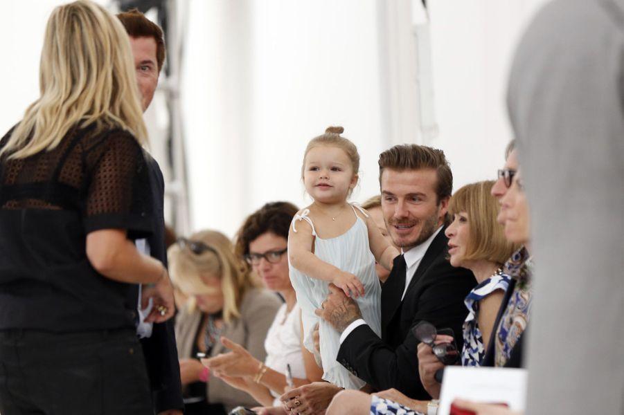 Le clan Beckham au premier rang, en septembre 2013