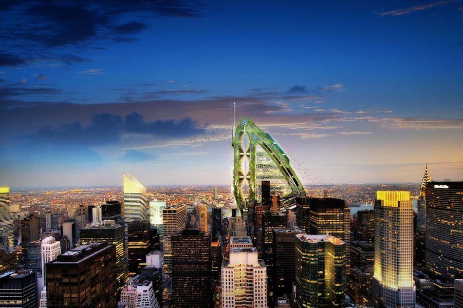 Une vue de ce fabuleux projet tel qu'il se dessinerait à l'horizon depuis l'Empire State Building.