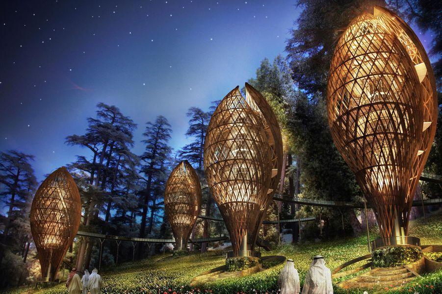 Ces chalets se déclinent aussi en villas verticales semblables à des bulbes de fleurs au printemps.