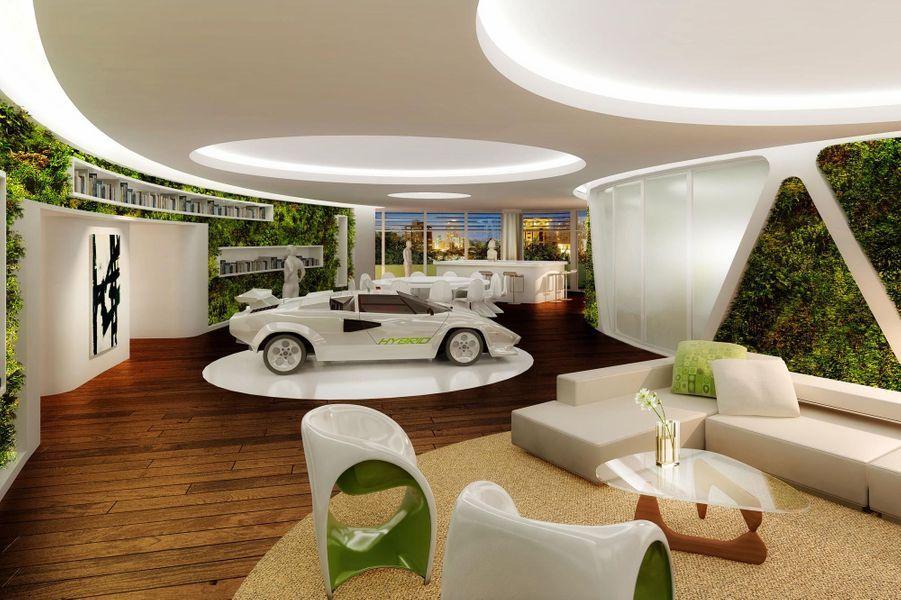 Chaque étage est tourné de 4 degrés et demi en éventail - On peut garer sa voiture dans le salon - La construction sera achevée en 2016