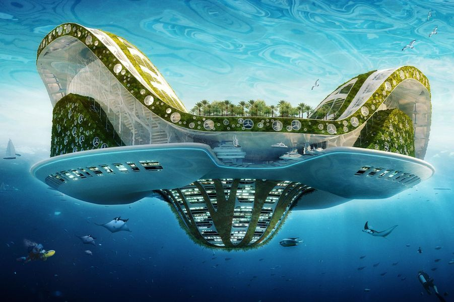 C'est une véritable ville amphibienne, mi-aquatique et mi-terrestre, pouvant abriter plus de 50.000 habitants et invitant la biodiversité à développer sa faune et sa flore autour d'un lagon central d'eau douce récoltant et épurant les eaux de pluies.