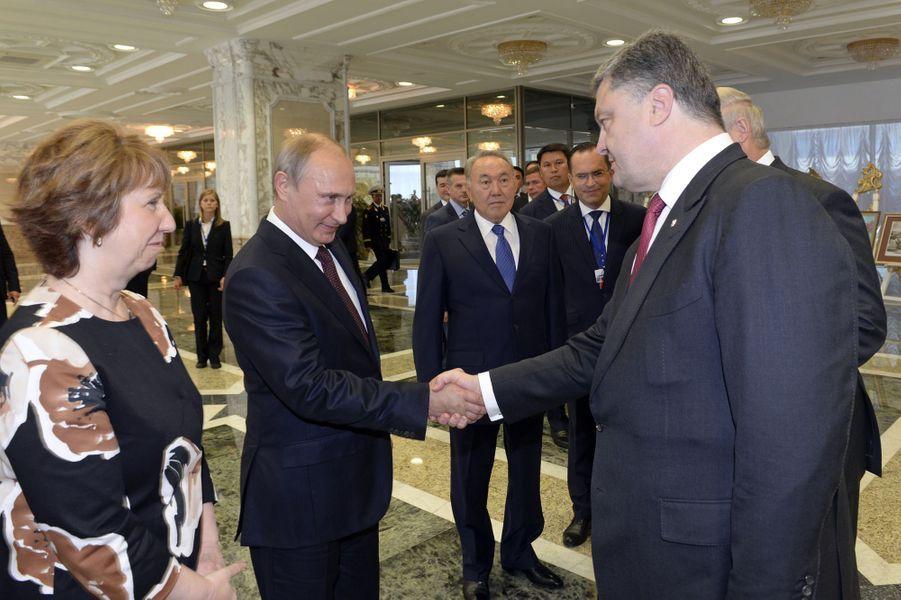 Catherine Ashton, Vladimir Poutine et Petro Porochenko