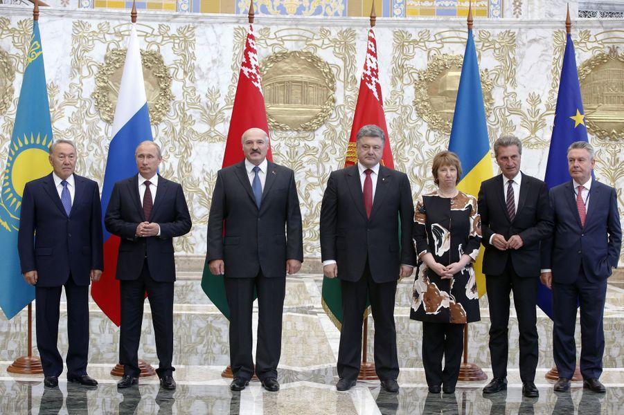 Noursoultan Nazarbaïev, Vladimir Poutine, Alexandre Loukachenko, Petro Porochenko, Catherine Ashton, Gunther Oettinger et Karel De Gucht