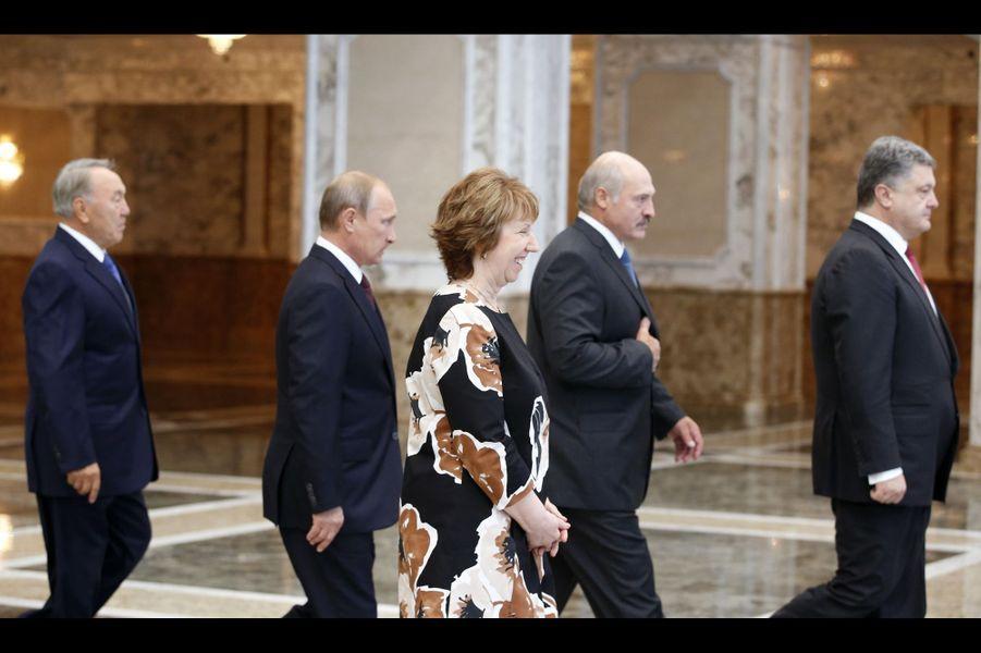 Noursoultan Nazarbaïev, Vladimir Poutine, Alexandre Loukachenko, Petro Porochenko et Catherine Ashton