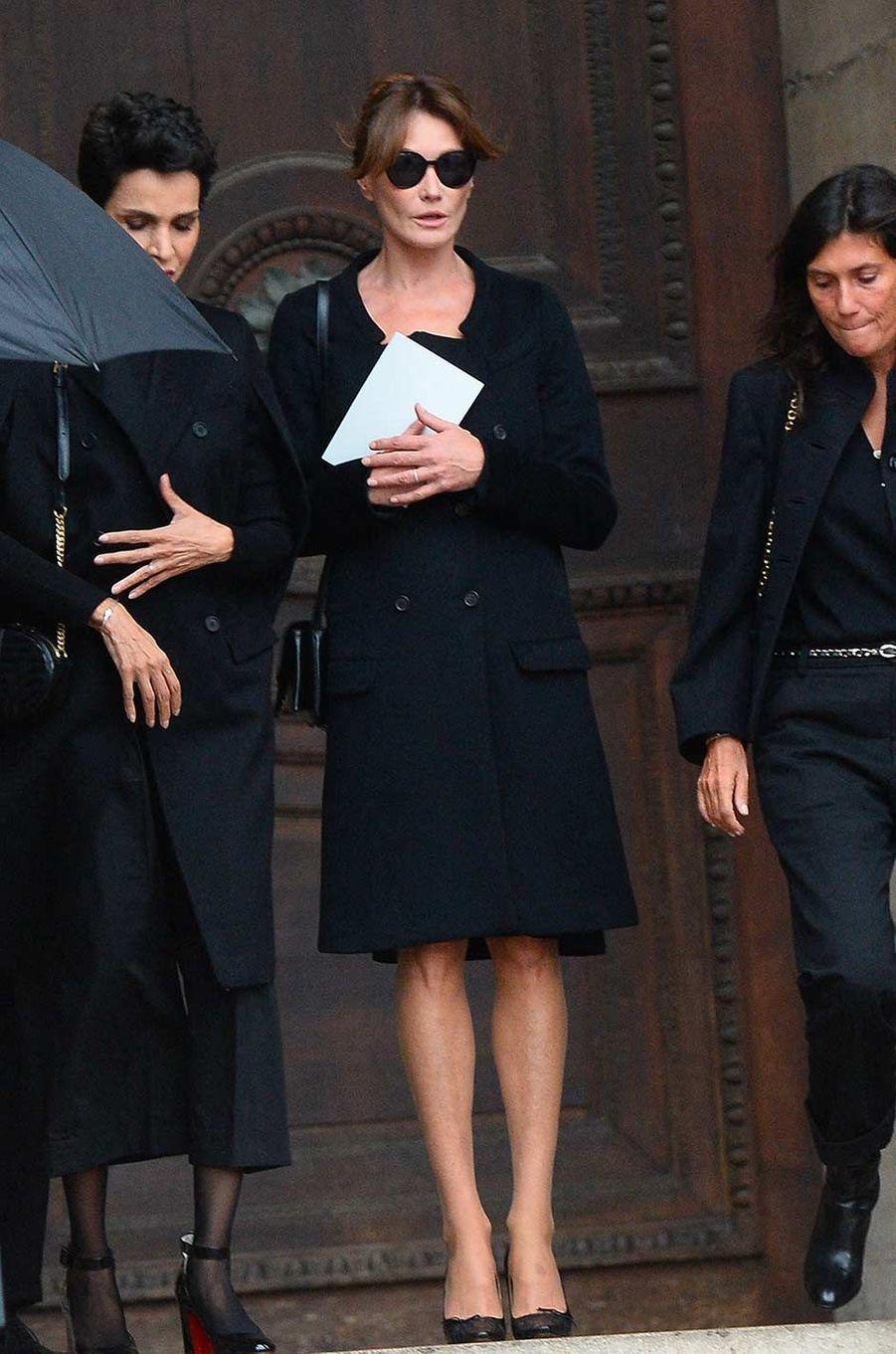 Farida Khelfa et Carla Bruniaux obsèques de Peter Lindbergh, à Paris, le 24 septembre 2019.