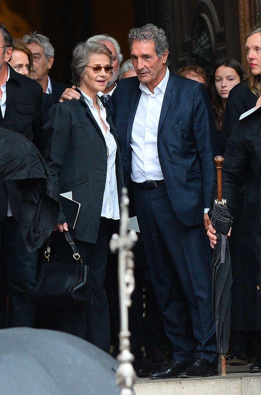 Charlotte Rampling et Jean-Jacques Bourdinaux obsèques de Peter Lindbergh, à Paris, le 24 septembre 2019.