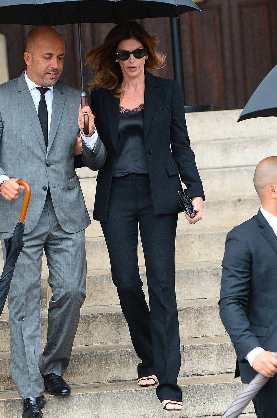 Cindy Crawfordaux obsèques de Peter Lindbergh, à Paris, le 24 septembre 2019.