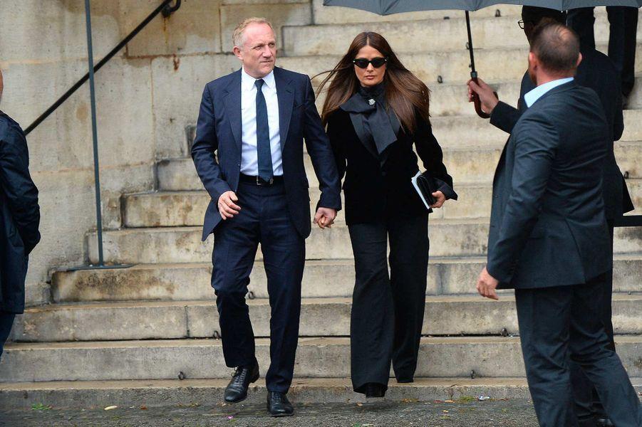 François-Henri Pinault et Salma Hayekaux obsèques de Peter Lindbergh, à Paris, le 24 septembre 2019.