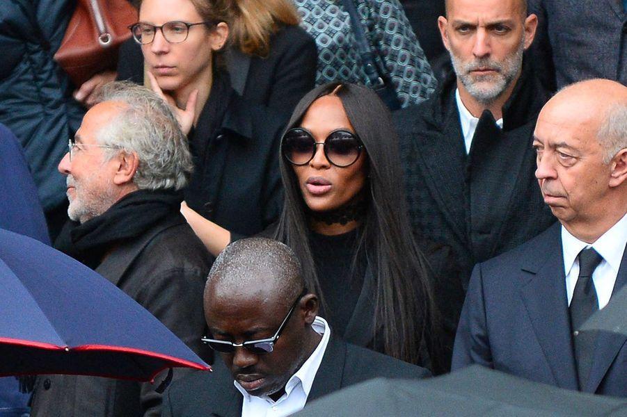 Naomi Campbellaux obsèques de Peter Lindbergh, à Paris, le 24 septembre 2019.