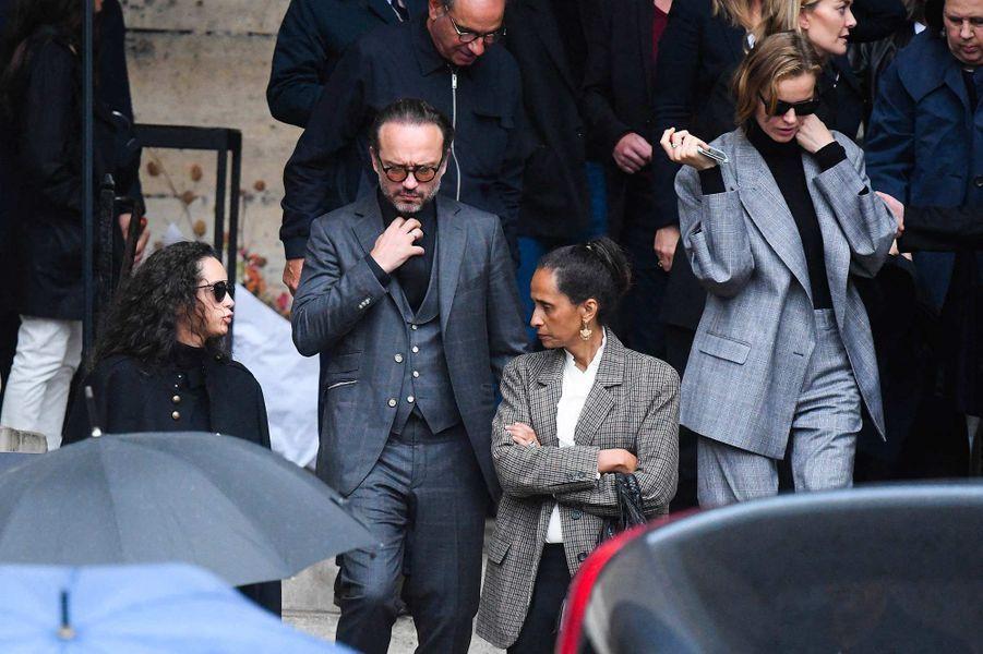 Vincent Perez et Karine Sillaaux obsèques de Peter Lindbergh, à Paris, le 24 septembre 2019.