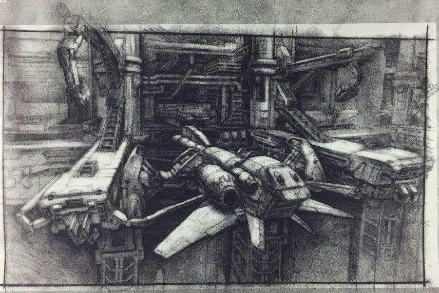 Étude de décor pour « Alien. La résurrection » de Jean-Pierre Jeunet, 1997.