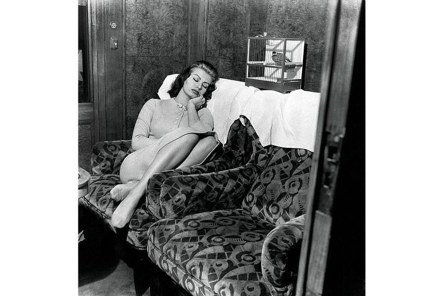 """1956 - Sofia Loren a 22 ans et a déjà joué dans 22 films. En réalisant son rêve de petite fille, aller à Paris, Sophia Loren a battu par 130 photographes contre 100 le record de popularité détenu jusqu'ici par Charlie Chaplin. Elle arrive à Paris par le train avec comme seul compagnon de voyage un couple de bengalis. Et se rend aussitôt dans les studios de la télévision française pour l'émission """"36 chandelles"""" animée par Jean Nohain. Photo : Jack Garofalo / Paris MatchRetrouvez Paris Match Vintage surFacebook,TwitteretInstagram"""