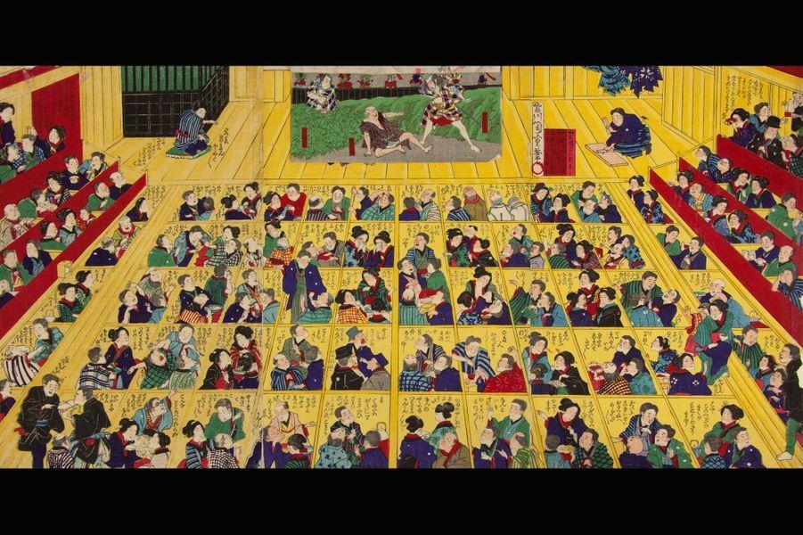 Estampe japonaise. Scène dans un théâtre de kabuki, 2ème moitié du XIXe siècle.