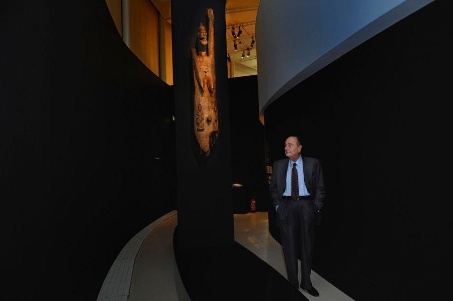 Jacques Chirac le 3 avril 2011 à l'exposition hommage à l'art dogon
