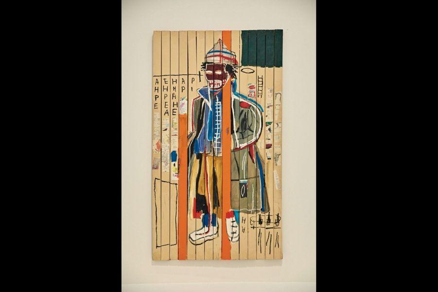1985, « Anthony Clarke », œuvre majeure, acrylique et collage, peinte sur des lattes de bois assemblées comme une palissade.