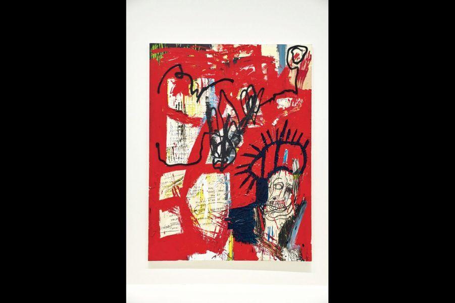 Collage papier, peinture aérosol et crayon gras pour cette œuvre de 1981, sans titre.