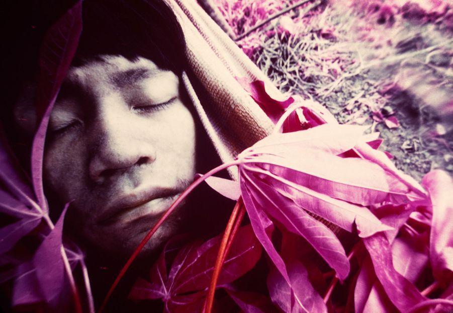Jeune Wakatha u thëri, victime de la rougeole, soigné par des chamans et des aides-soignants de la mission catholique Catrimani, Roraima, 1976