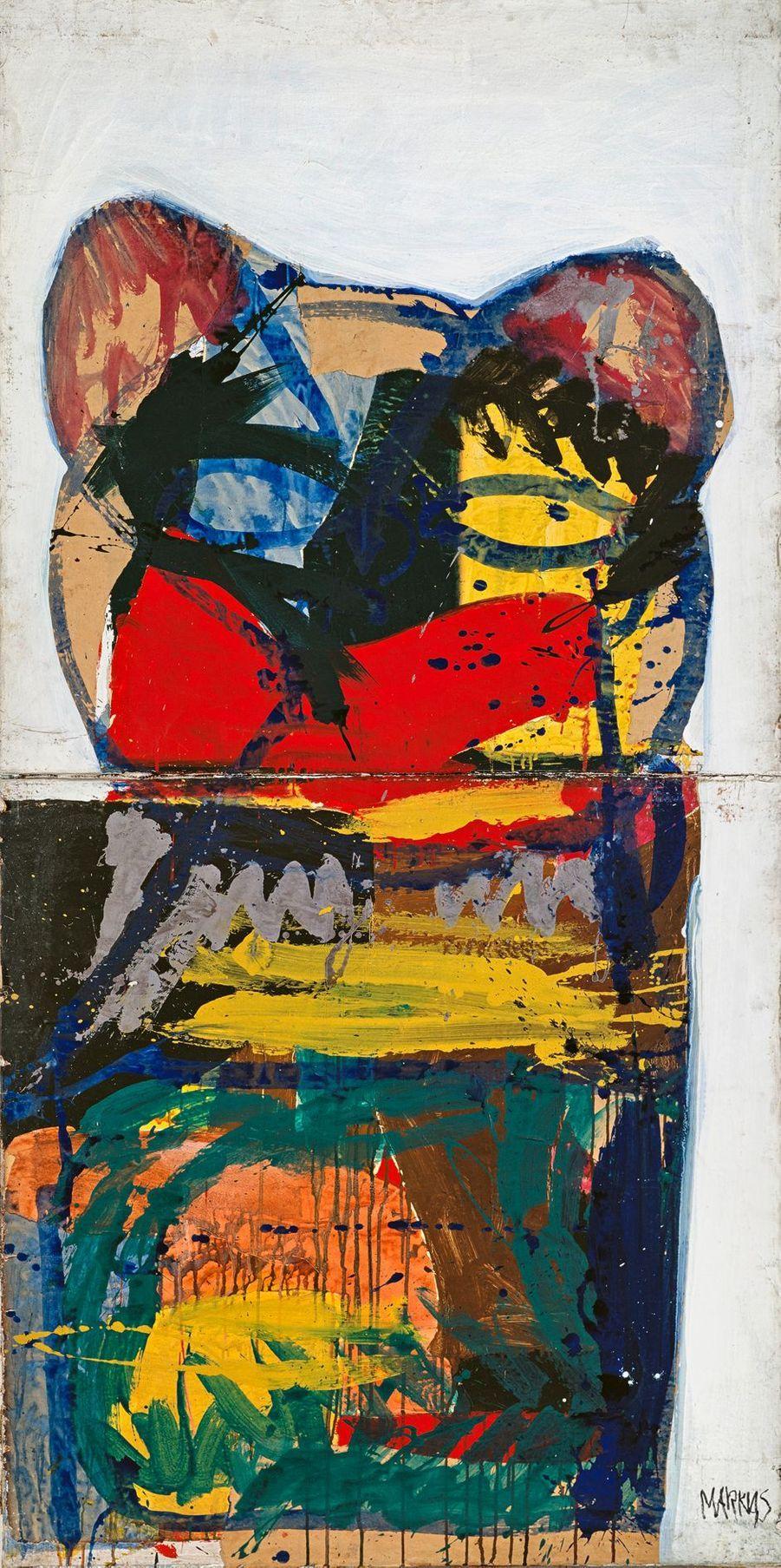 """Markus Lüpertz, """"Sans titre"""" (série Donald Duck), 1963. Détrempe sur toile."""