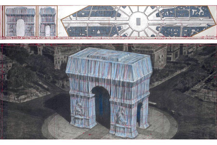 Le projet d'emballement de l'Arc de Triomphe.