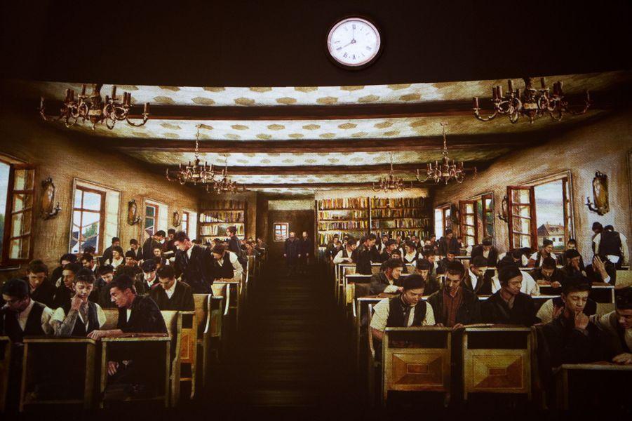 L'étude du Talmud à la fin du XIXe siècle extraite d'un film d'animation projeté au musée.