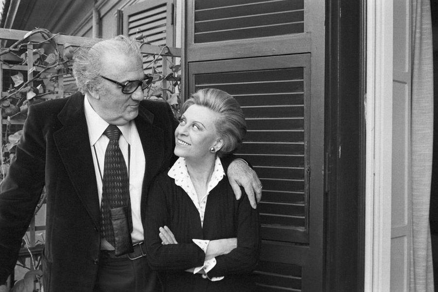Federico Fellini et sa Femme Giuletta Masina en 1980