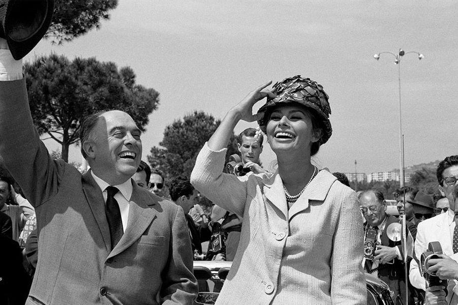 Le 14ème Festival de Cannes 1961 avec Sophia Loren et Carlo Ponti